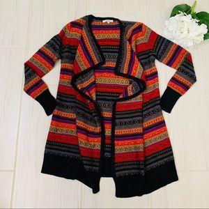 Bb Dakota Boho Wool Drape Tribal style cardigan M